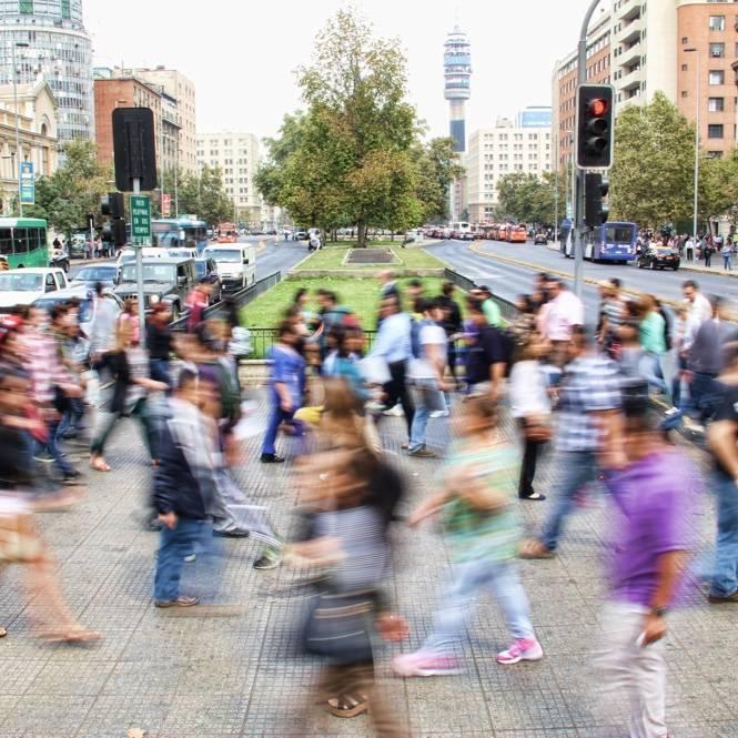 Civilians wandering around the city