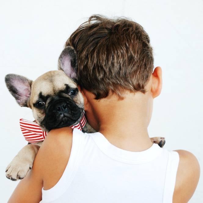 A little boy cuddling a dog