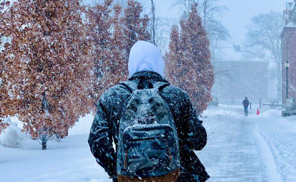 Man from behind walking in snow