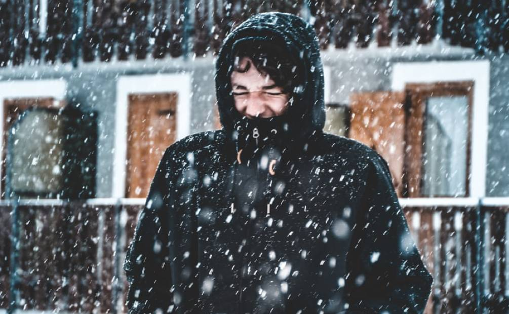 Man in cold and snow