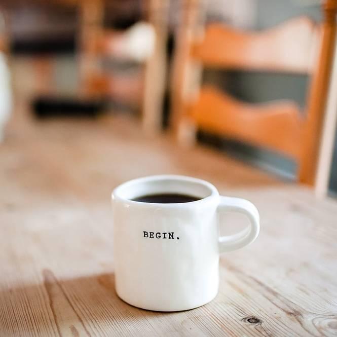 hello inscription on white mug