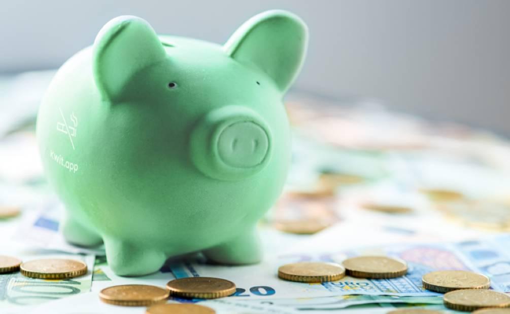 cochon tirelire entouré d'argent
