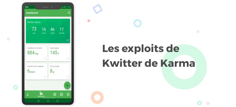 écran de bord de l'application Kwit