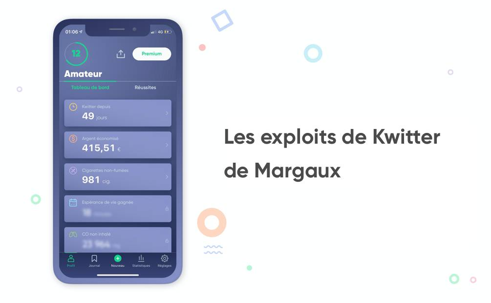 écran de bord de l'application Kwit